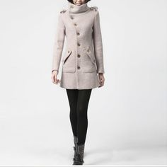winter coat, pink wool coat long sleeves with pockets, winter jacket militory outerwear tailored coat ,70% WOOL  (FM018)