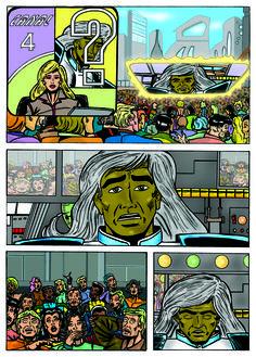 Página da HQ Os Invictos - O Seta (inédita) com arte de Sandro Marcelo e cores de Adriano Sapão