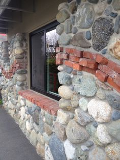 old brick design in rock wall