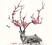 Inspiring picture art, bird, cherry, cherry blossom, deer, flower. Resolution: 500x470 px. Find the picture to your taste!