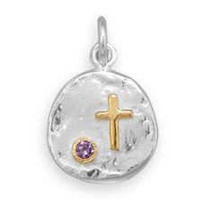 Cross and Purple CZ Two Tone Necklace  #jewelry #cross #purple #necklace