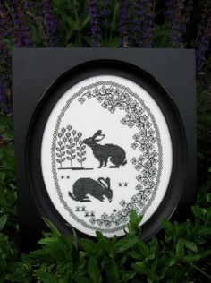 Cross-Stitch Meets Blackwork Rabbits by TanjasHandEmbroidery
