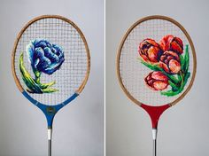 Danielle Clough transforms pre-loved sporting instruments into a canvas for intricate woolly art.