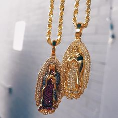 Two very unique custom Virgin Mary pedants. Each stone was hand picked and inspected before being put into these beautiful pieces. #OnlyDiamondsByShelly