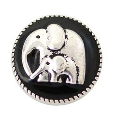 1 PC - 18MM Elephant Animal Black Enamel Silver Snap Candy Charm kb6891 CC2015