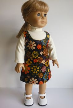 18 inch Doll Clothes Fits American Girl - Flower Jumper and Ivory Turtle Neck by HoleInMyBucket on Etsy