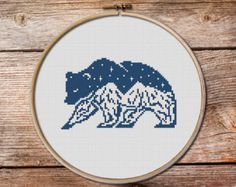 Brown Geometric Bear cross stitch pattern Modern by ThuHaDesign