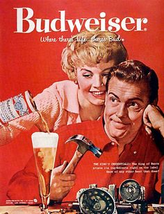 A great collection of Budweiser ads that contain both new beer commercials and old vintage magazine commercials. Lean back and let your eyes do the walking down this great beer ads alley! Beer Advertisement, Old Advertisements, Retro Advertising, Retro Ads, 1950s Ads, Advertising Slogans, Images Vintage, Art Vintage, Vintage Ads