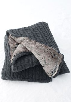 Charcoal Cableknit Throw.  Chinchilla FAUX Fur Lined