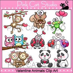 Valentine Animals Clip Art Value Pack: Add some love to your teaching resources with these adorable animals and ladybugs.