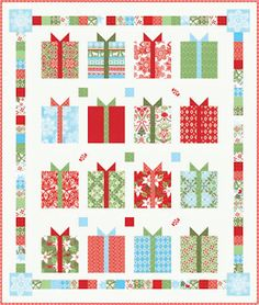 Free pattern day!  Christmas: Part 2- The link brings you to a bunch of patterns for quilts with presents,wreaths or ornaments on them. This was my favorite. You have to scroll down and click on each individual link to get the patterns and/tutorials.