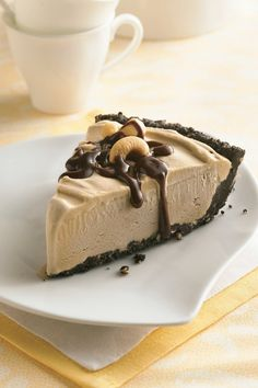 Coffee Ice Cream Pie has only 6 ingredients and requires no baking!