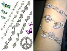 Funky Festival Flower Tattoos, Daisy Chain, Butterfly, Dragonfly Fancy Dress Temporary Tattoos Hippy Peace Sign by Top Tats Flower Tattoo Sleeve Men, Flower Tattoo Hand, Flower Tattoo Drawings, Flower Tattoo Shoulder, Dragonfly Tattoo, Flower Tattoo Designs, Daisy Flower Tattoos, Mother Tattoos, Hand Tattoos