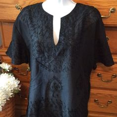 """MTCM Black Embroidered  Blouse 67% rayon and 33% polyester.  Light sheer material.  Truly looks brand new.  Approximately 27"""" in length.  Beautiful detail! MTCM Tops Blouses"""