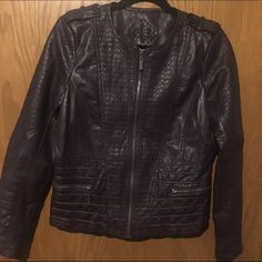 """Jou Jou leather moto jacket Excellent condition! Faux leather with """"moto"""" style accents. Plaid interior, zippered front pockets and zippers at end of sleeves. Size large, could fit medium as well ☀️open to trades Urban Outfitters Jackets & Coats"""