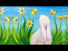 Simple Spring Bunny and Daffodils Acrylic Painting for Beginners