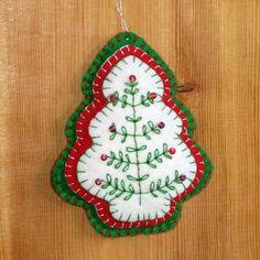 Felt Christmas Tree Ornament Red Green Beaded by Elibet on Etsy