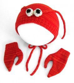 Handmade Knitted Lobster Hat & Mittens Set for Babies - Lambswool Costume by The Miniature Knit Shop