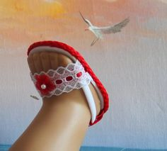 American Girl Doll Clothes Sandals Shoes Red by sewgrandmacathy, $6.00