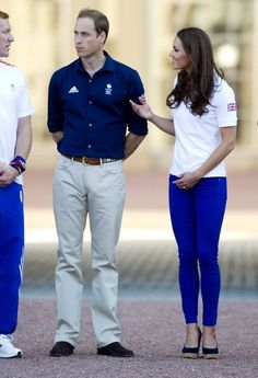 These Zara jeans look amazing. She was receiving the Olympic torch with Princes Harry and William.