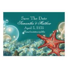 """Starfish beach wedding """"SAVE THE DATE"""" Custom Invite"""
