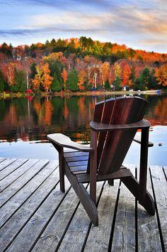 Adirondack chair, lake, fall foliage. What more do you need, really?