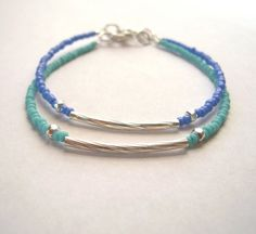 Sale  Two for Beaded Bracelets Blue and Ocean Green by s3setag, $9.00