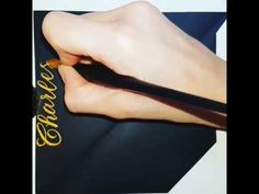 Inner envelope personalization in gold calligraphy