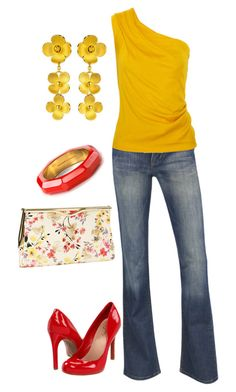 """yellow & red"" by bonnaroosky ❤ liked on Polyvore featuring Monsoon, Jessica Simpson, INDIE HAIR, Jil Sander, Just Gold, Kate Spade, heels, floral, clutch and summer"