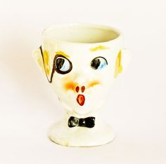 Man with Monocle Character Egg Cup Rare by Butterflysue on Etsy, $40.00