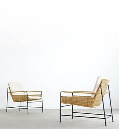 Enameled Metal and Rattan Lounge Chairs for Wilde + Spieth, Baby Furniture Sets, Diy Home Furniture, Rattan Furniture, Cheap Furniture, Furniture Design, Sofas, Armchairs, Bamboo Sofa, Metal Chairs