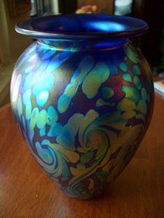 Eickholt Signed Dark Blue Swirl Pattern Handblown Art Glass Vase