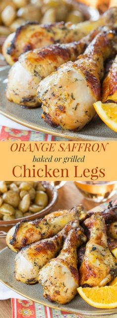 Baked or Grilled Orange Saffron Chicken Legs - An easy marinade recipe infuses exotic citrus flavors into juicy drumsticks you can cook on the grill or bake in the oven. Gluten free, low carb, and paleo. | http://cupcakesandkalechips.com