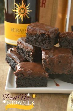 Pinot Noir Brownies are dense, loaded with dark chocolate, & have a hint of the cherries, strawberries, and red currants that Mirassou Pinot Noir offers.