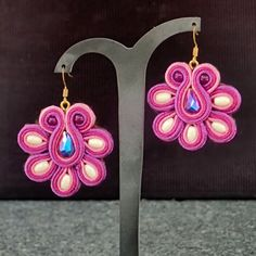 Soutache earrings in violet, magenda & pink shades, with white jade and…