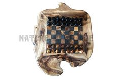 Beautiful Rustic Olive Wood Chess Set. 32 Olive Wood Pieces Included Board size: 11.80 / 11.80 Inches Game area size : 7.87 Inches  100 % Handmade product.
