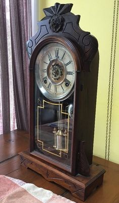 RARE Geo George B Owen Kitchen Gingerbread Parlor Mantle Shelf Clock   eBay
