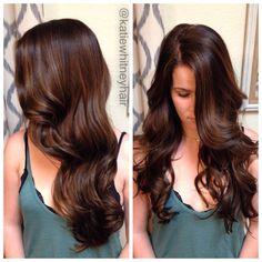 Chocolate brown hair with caramel balayage highlights #katiewhitneyhair ---> http://tipsalud.com