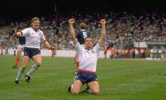 Bully and Gazza celebrate #England debut goal v Scotland (thanks @Comptonstars)