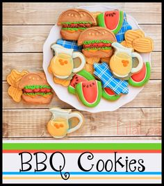 Decorated Cookies -- Lemonade, Hamburgers, Watermelon, and Chips