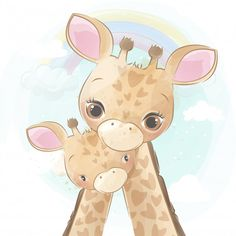 Cute giraffe mother and baby Premium Vec. Cute Baby Elephant, Little Giraffe, Baby Animal Drawings, Cute Drawings, Cute Giraffe Drawing, Scrapbooking Image, Cute Pink Background, Mothers Day Drawings, Baby Animals