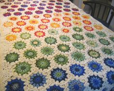 Hexagon Afghan - fun idea for using up lots of colorful yarn scraps