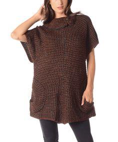 Look at this #zulilyfind! Brown Asymmetrical Collar Sweater - Plus by Diva Designs #zulilyfinds