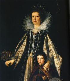 Margherita de' Medici, Duchess of Parma and Piacenza, with one of her sons, probably Onorato Farnese (1636-1656). Margherita may be with child in this portrait