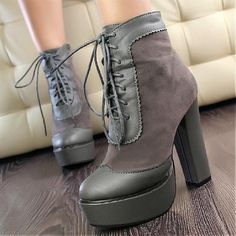 Womens Boots | Charming Gray Round Closed Toe Chunky Super High Heel Boots - Hugshoes.com