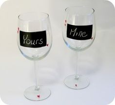 chalk wine glasses, I like the idea of dipping the  base in :)