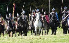 Re-enactment of Norman Knights at the site of the Battle of Hastings 1066