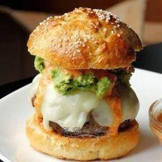 Chorizo Burgers with Cool Ranch Pepper Sauce- but I would use just regular hamburger no chorizo for me.