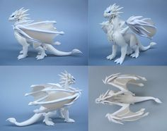 Custom White Polymer Clay Dragon by MiniMythicalMonsters.deviantart.com on @deviantART