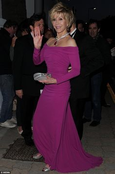 Jane Fonda @ 75 years old. She looks AMAZING!! Raspberry delight: Jane Fonda looked sensational as she arrived at the Vanity Fair party in Cannes on Sunday night.